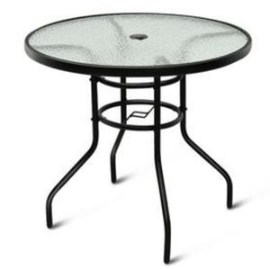 "ROUND 32"" TEMPERED GLASS PATIO TABLE"